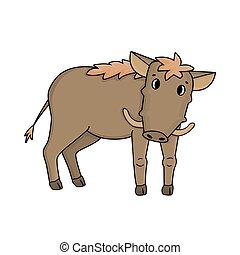 Brown cartoon cute common warthog stands sideways and looks straight. Animal is isolated on white background