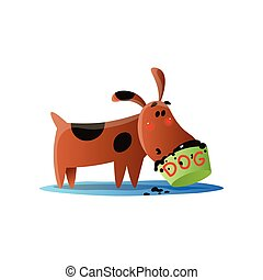 Brown cartoon dog and food bowl isolated on white background