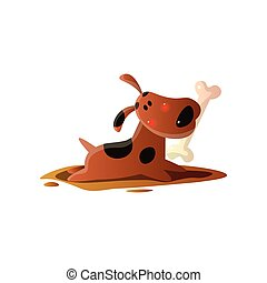 Brown cartoon dog carrying bone in mouth isolated on white background