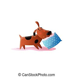 Brown cartoon dog playing with cushion isolated on white background