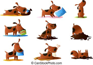 Brown cartoon dog set of normal everyday activities. Cute puppy tricks icons and action training, playing, digging dirt, eating pet food, wallowing, wiggle, barking, taking happy cute animal poses