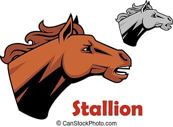 Brown cartoon horse stallion character