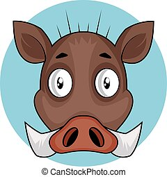 Brown cartoon pig vector illustration on white background
