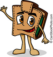 Brown cartoon purse with money for finance concept