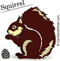 Brown cartoon squirrel on a white background, object for design,