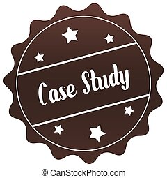Brown CASE STUDY stamp on white background.
