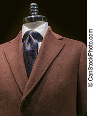 Brown Cashmere Coat (vertical) - Close up of a brown ...