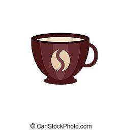Brown ceramic cup of coffee with coffee bean logo vector Illustration