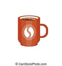 Brown ceramic mug of coffee with coffee bean logo vector Illustration