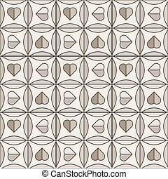 Ceramic tiles with hearts in brown colors, seamless pattern. Vector background.