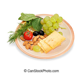 Brown cheese plate with almonds, fennel, olives, red peppers, cherry tomatoes, mint leaves isolated on white background