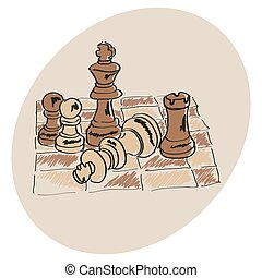 ??????? - Brown Chess on a chessboard pattern Doodle