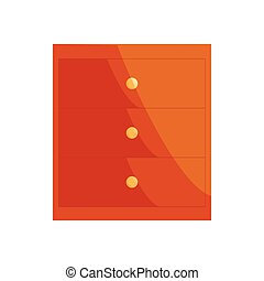 Brown chest of drawers icon, cartoon style