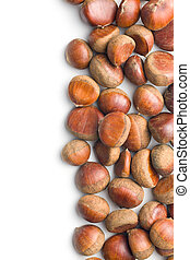 brown chestnuts on white background