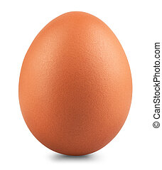 brown chicken egg isolated on white