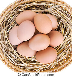 brown chicken eggs in basket with straw