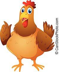 Brown chicken on white background