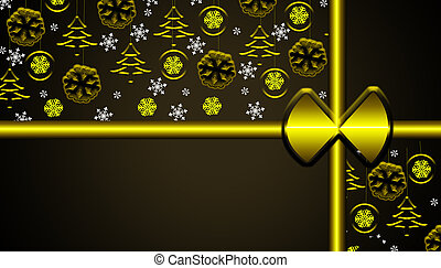 Brown christmas background with golden hanging ornaments and snowflakes gift looking