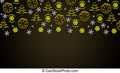 Brown christmas background with golden hanging ornaments and snowflakes