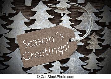 Brown Christmas Label With Seasons Greetings - Brown ...