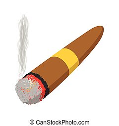 Brown cigar burned cartoon icon
