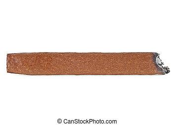 Brown cigar burned, white background