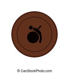 brown circular frame with training in gym ball
