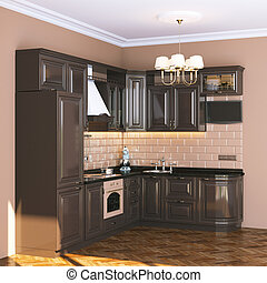 Brown classic kitchen in beige interior