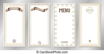 Brown classic, retro, vintage restaurant menu templates - 20x40 cm