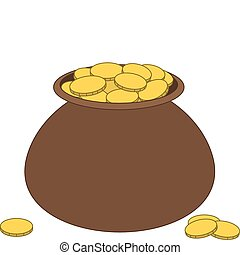 Brown clay pot with gold - Riches symbol: clay pot filled...