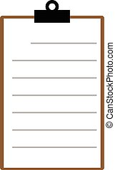 brown clipboard with blank paper