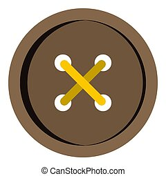 Brown clothing button icon isolated