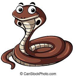 Brown cobra on white background