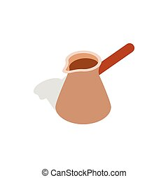 Brown coffee cezve icon, isometric 3d style