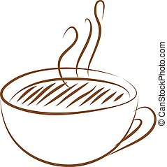 coffee cup icon - Brown coffee cup icon on white background....