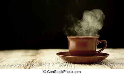 Brown Coffee Cup  or Tea. With slow Steam