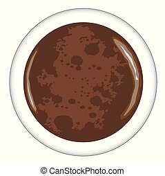 Top view of a cup of grappa Coffee over a white background