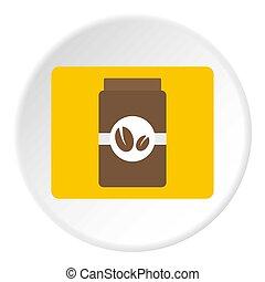 Brown coffee jar icon circle - Brown coffee jar icon in flat...