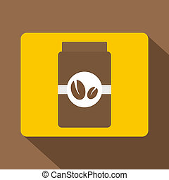 Brown coffee jar icon, flat style - Brown coffee jar icon. ...