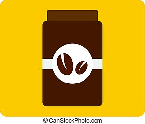 Brown coffee jar icon isolated - Brown coffee jar icon flat ...