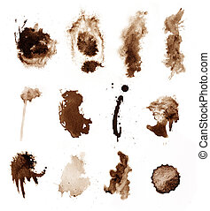 brown coffee splashes on white watercolor paper