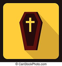 Brown coffin icon, flat style