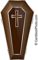 Brown Coffin Vector Illustration.