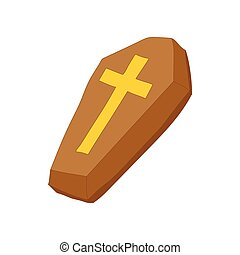 Brown coffin with cross icon, cartoon style