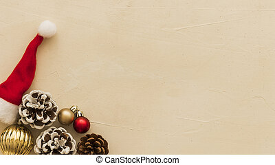 brown cones with small santa hat. High quality and resolution beautiful photo concept