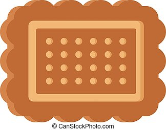 Brown cookie icon, flat style