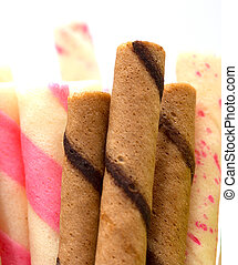 Brown Cookies Indicates Wafer Biscuits And Bicky - Wafer...