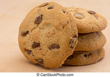 Brown cookies with chocolate