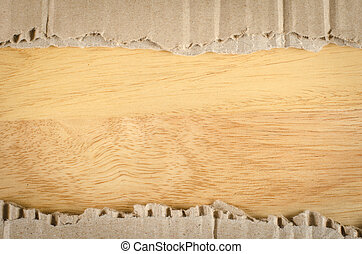 Brown Corrugated paper on wood background