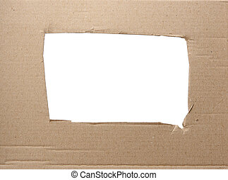 brown corrugated paper texture with square hole, white background